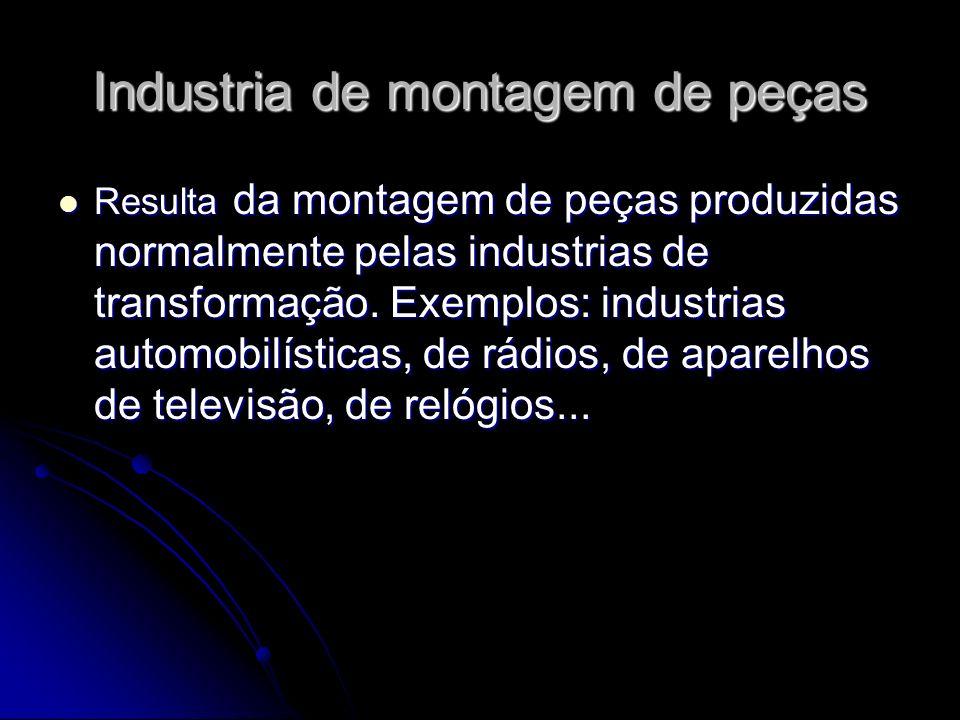 Industria de montagem de peças Resulta da montagem de peças produzidas normalmente pelas industrias de transformação. Exemplos: industrias automobilís