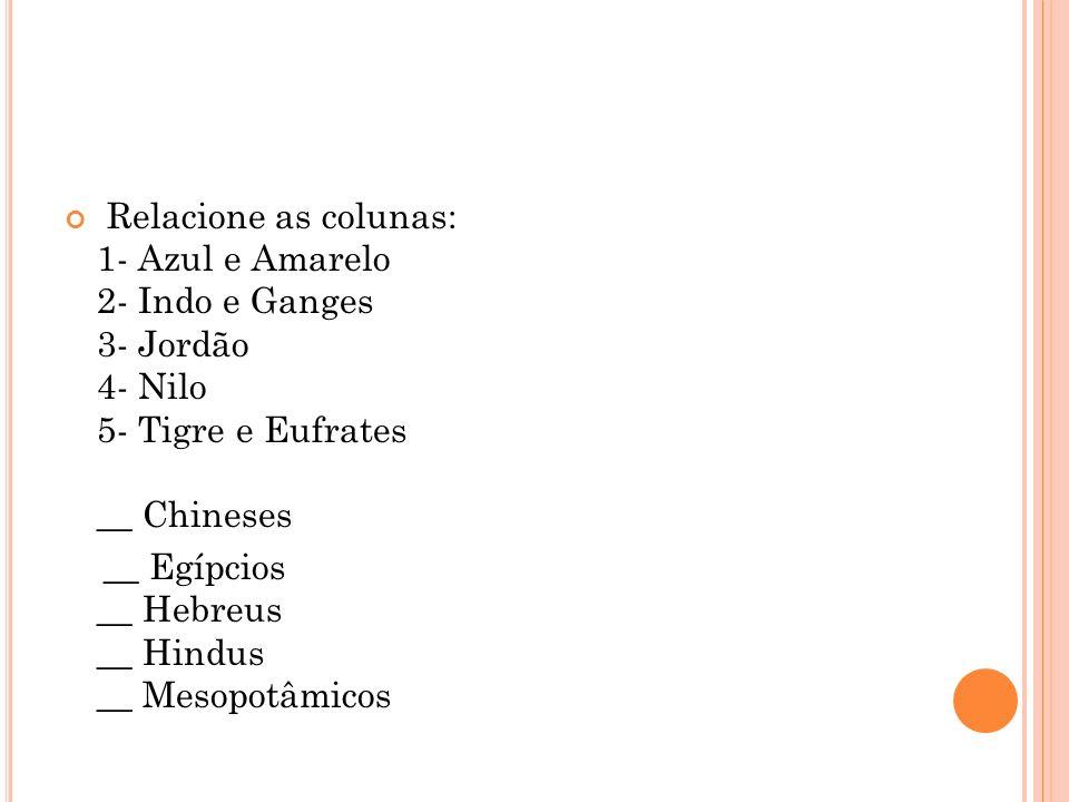 Relacione as colunas: 1- Azul e Amarelo 2- Indo e Ganges 3- Jordão 4- Nilo 5- Tigre e Eufrates __ Chineses __ Egípcios __ Hebreus __ Hindus __ Mesopot