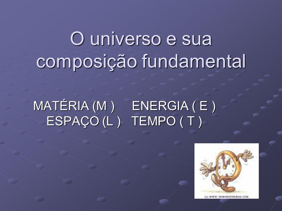 O universo e sua composição fundamental MATÉRIA (M ) ENERGIA ( E ) ESPAÇO (L ) TEMPO ( T )