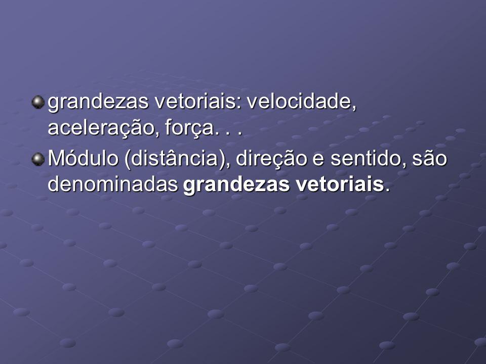 grandezas vetoriais: velocidade, aceleração, força... Módulo (distância), direção e sentido, são denominadas grandezas vetoriais.