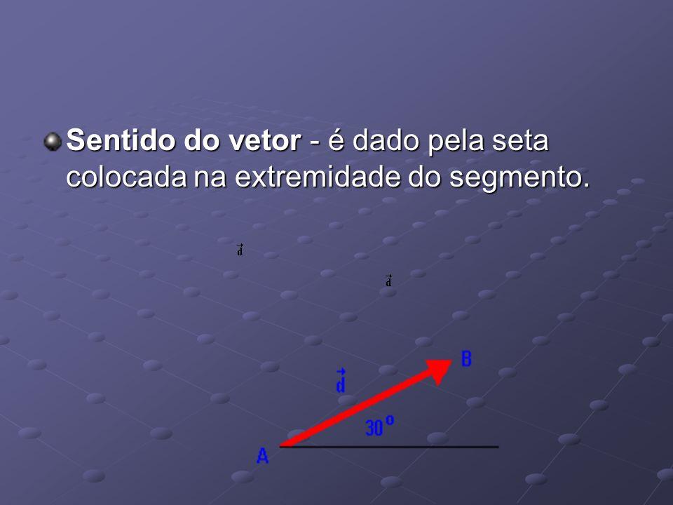 Sentido do vetor - é dado pela seta colocada na extremidade do segmento.