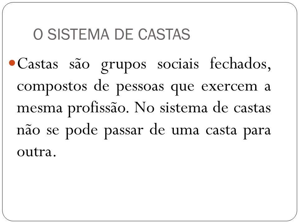 O SISTEMA DE CASTAS Castas são grupos sociais fechados, compostos de pessoas que exercem a mesma profissão. No sistema de castas não se pode passar de