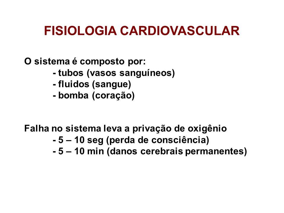 FUNÇÃO (do sistema cardiovascular) aporte adequado de nutrientes / fornecimento de O 2 / remoção dos metabólitos e CO 2.