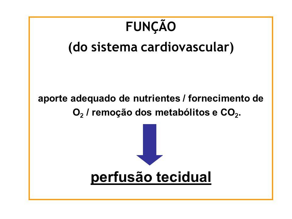 FUNÇÃO (do sistema cardiovascular) aporte adequado de nutrientes / fornecimento de O 2 / remoção dos metabólitos e CO 2. perfusão tecidual
