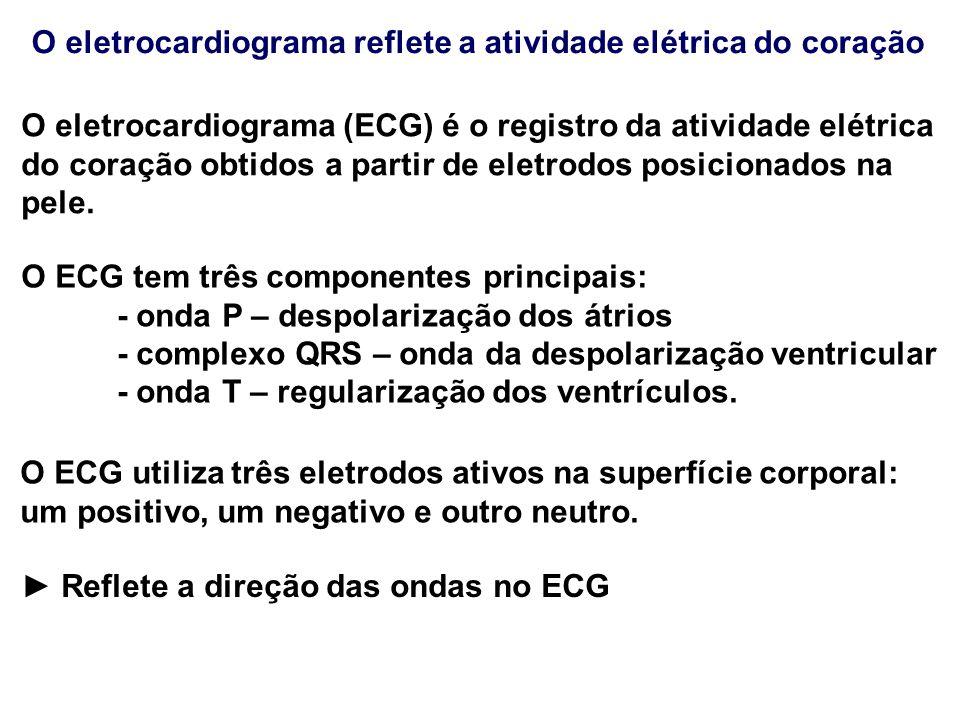 O eletrocardiograma reflete a atividade elétrica do coração O eletrocardiograma (ECG) é o registro da atividade elétrica do coração obtidos a partir d
