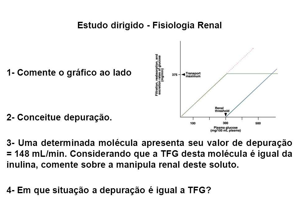 1- Comente o gráfico ao lado 2- Conceitue depuração. 3- Uma determinada molécula apresenta seu valor de depuração = 148 mL/min. Considerando que a TFG