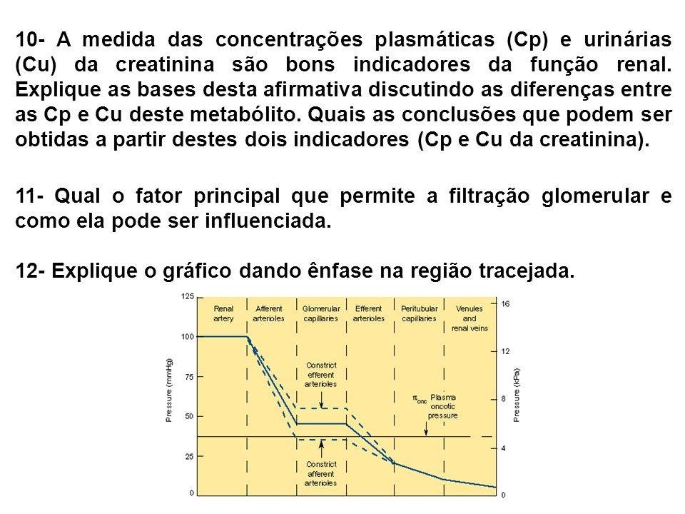 10- A medida das concentrações plasmáticas (Cp) e urinárias (Cu) da creatinina são bons indicadores da função renal. Explique as bases desta afirmativ