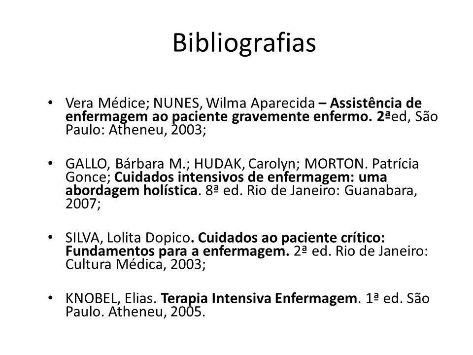 Bibliografias Vera Médice; NUNES, Wilma Aparecida – Assistência de enfermagem ao paciente gravemente enfermo.