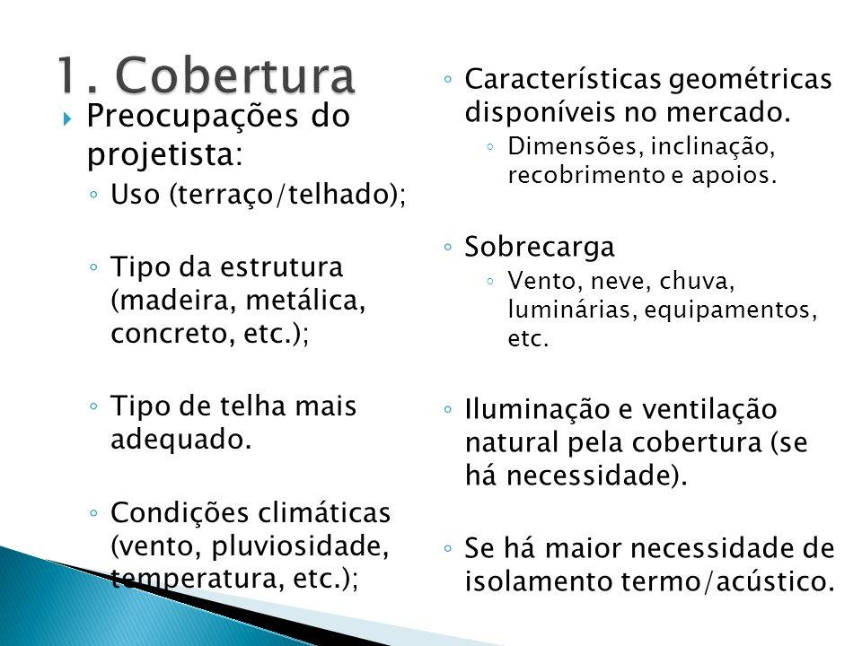 Preocupações do projetista: Uso (terraço/telhado); Tipo da estrutura (madeira, metálica, concreto, etc.); Tipo de telha mais adequado. Condições climá