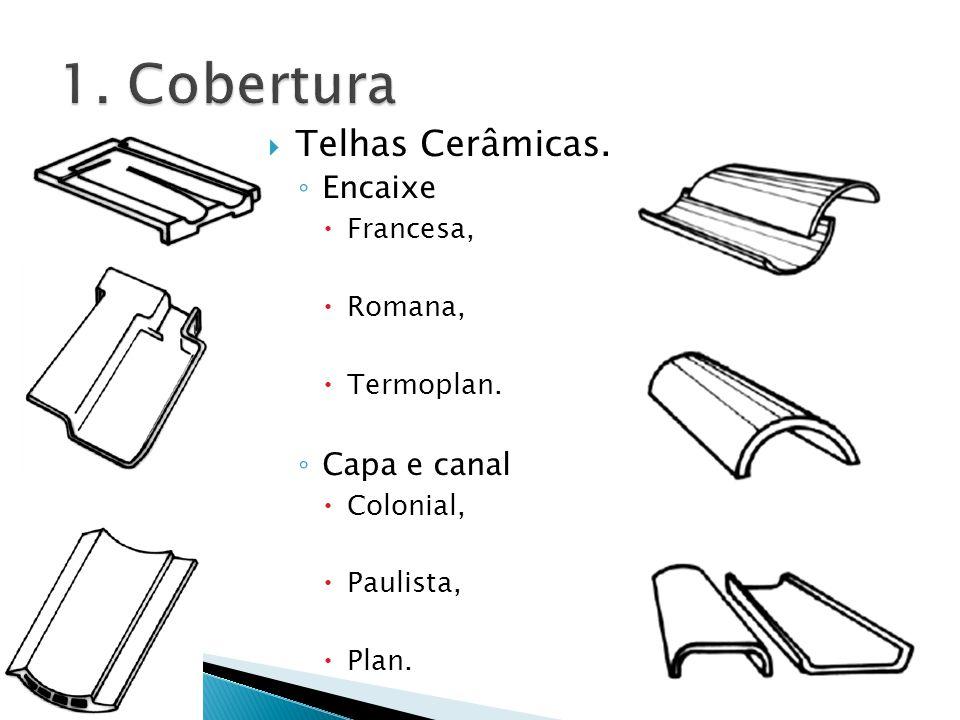 Telhas Cerâmicas. Encaixe Francesa, Romana, Termoplan. Capa e canal Colonial, Paulista, Plan.