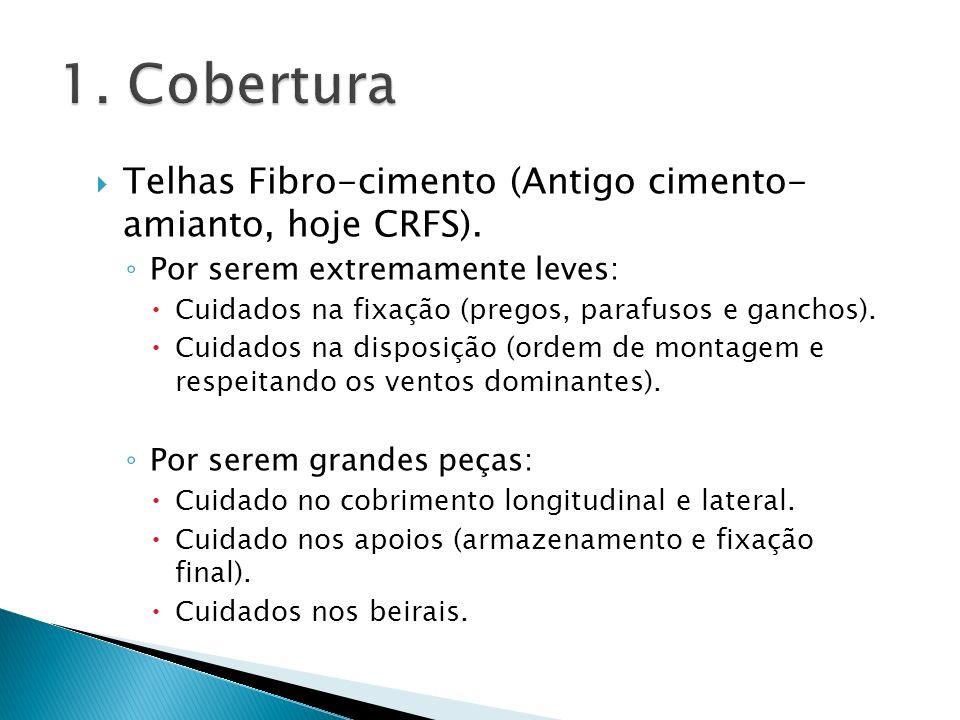 Telhas Fibro-cimento (Antigo cimento- amianto, hoje CRFS). Por serem extremamente leves: Cuidados na fixação (pregos, parafusos e ganchos). Cuidados n