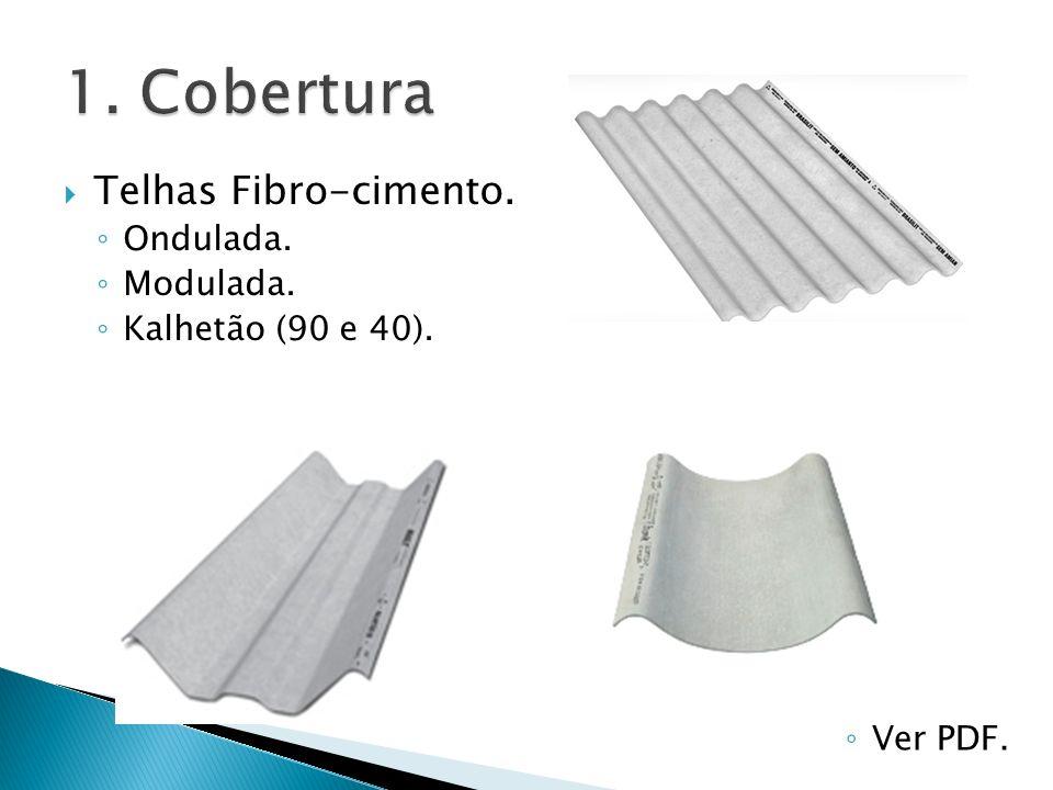 Telhas Fibro-cimento. Ondulada. Modulada. Kalhetão (90 e 40). Ver PDF.
