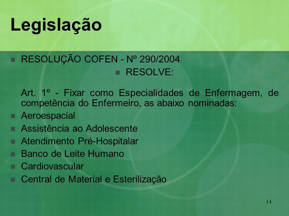 14 Legislação RESOLUÇÃO COFEN - Nº 290/2004 RESOLVE: Art. 1º - Fixar como Especialidades de Enfermagem, de competência do Enfermeiro, as abaixo nomina