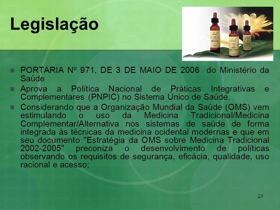 20 Legislação PORTARIA Nº 971, DE 3 DE MAIO DE 2006 do Ministério da Saúde Aprova a Política Nacional de Práticas Integrativas e Complementares (PNPIC