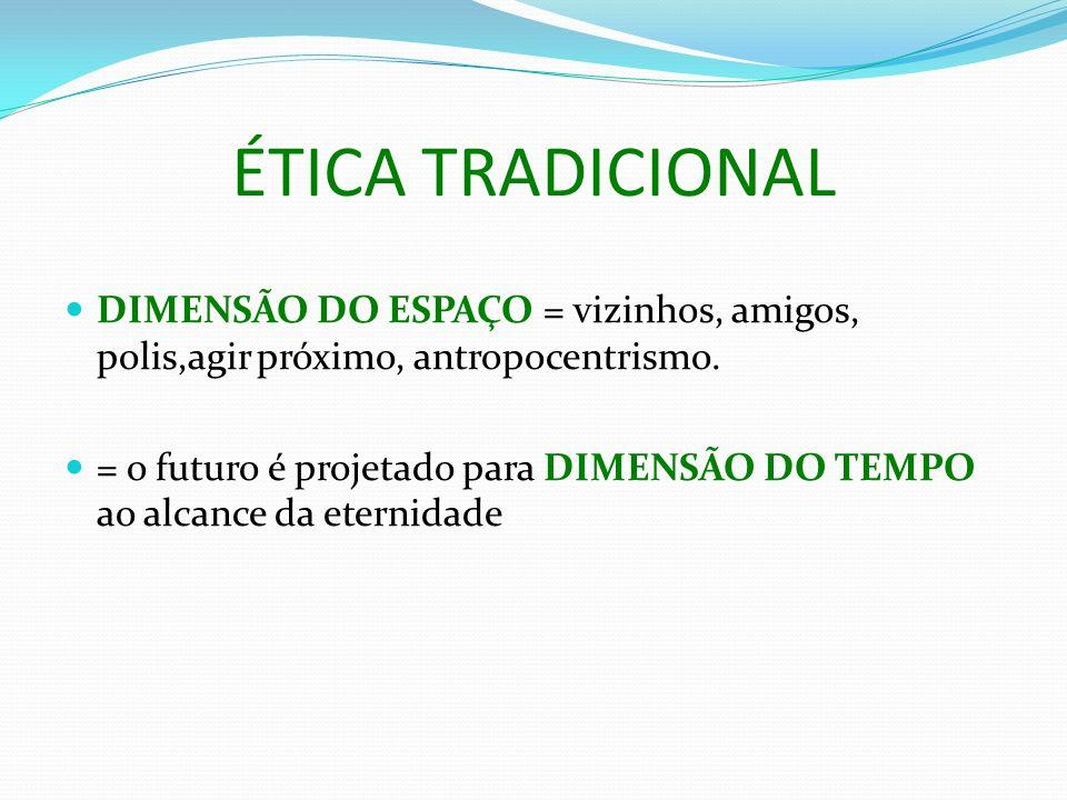 ÉTICA TRADICIONAL DIMENSÃO DO ESPAÇO = vizinhos, amigos, polis,agir próximo, antropocentrismo. = o futuro é projetado para DIMENSÃO DO TEMPO ao alcanc