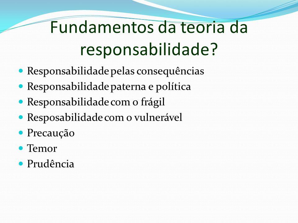 Fundamentos da teoria da responsabilidade? Responsabilidade pelas consequências Responsabilidade paterna e política Responsabilidade com o frágil Resp