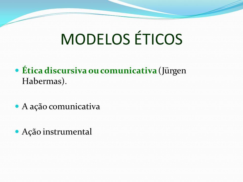 MODELOS ÉTICOS Ética discursiva ou comunicativa (Jürgen Habermas). A ação comunicativa Ação instrumental