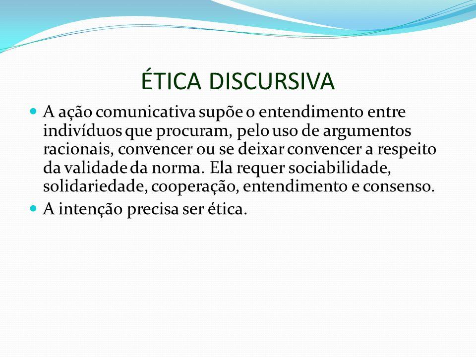 ÉTICA DISCURSIVA A ação comunicativa supõe o entendimento entre indivíduos que procuram, pelo uso de argumentos racionais, convencer ou se deixar convencer a respeito da validade da norma.