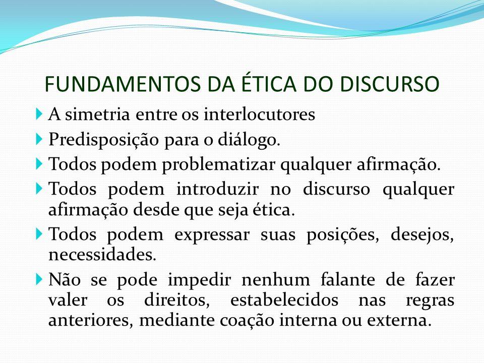 FUNDAMENTOS DA ÉTICA DO DISCURSO A simetria entre os interlocutores Predisposição para o diálogo. Todos podem problematizar qualquer afirmação. Todos