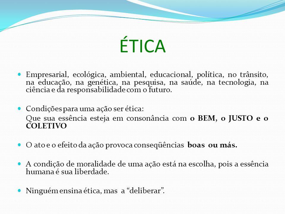 ÉTICA Empresarial, ecológica, ambiental, educacional, política, no trânsito, na educação, na genética, na pesquisa, na saúde, na tecnologia, na ciência e da responsabilidade com o futuro.
