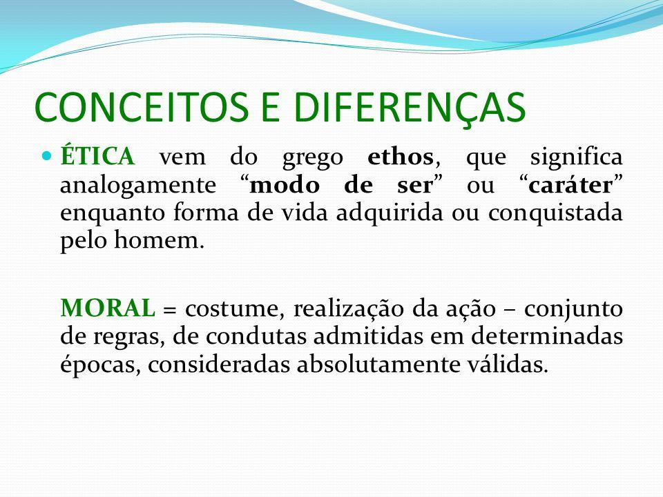 CONCEITOS E DIFERENÇAS ÉTICA vem do grego ethos, que significa analogamente modo de ser ou caráter enquanto forma de vida adquirida ou conquistada pel
