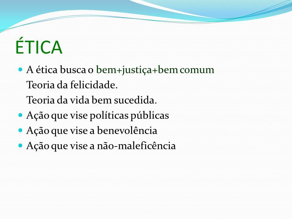 ÉTICA A ética busca o bem+justiça+bem comum Teoria da felicidade.