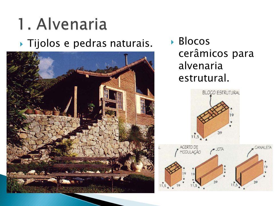 Tijolos e pedras naturais. Blocos cerâmicos para alvenaria estrutural.