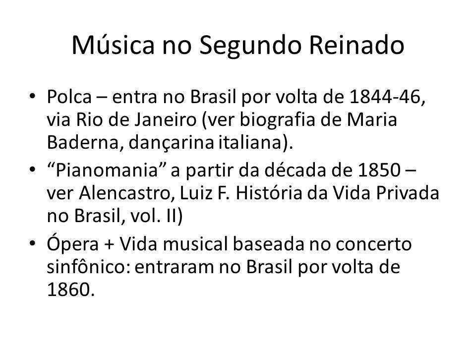 Música no Segundo Reinado Polca – entra no Brasil por volta de 1844-46, via Rio de Janeiro (ver biografia de Maria Baderna, dançarina italiana). Piano