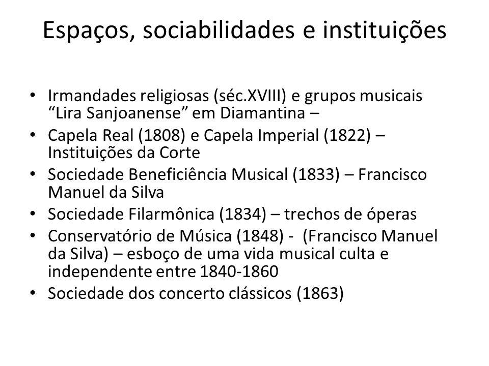 Espaços, sociabilidades e instituições Irmandades religiosas (séc.XVIII) e grupos musicais Lira Sanjoanense em Diamantina – Capela Real (1808) e Capel