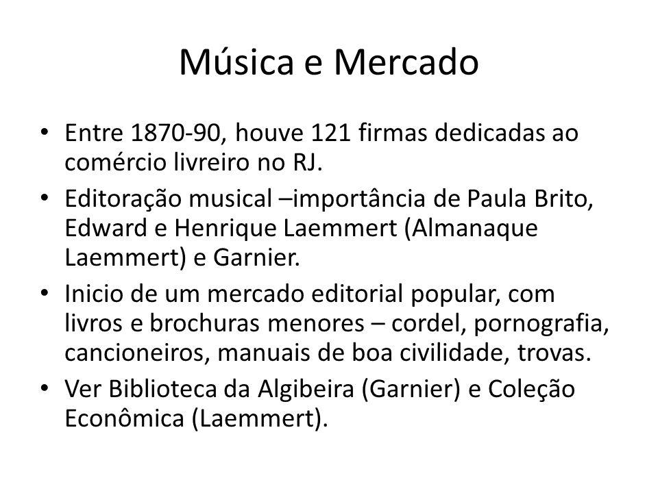 Música e Mercado Entre 1870-90, houve 121 firmas dedicadas ao comércio livreiro no RJ. Editoração musical –importância de Paula Brito, Edward e Henriq