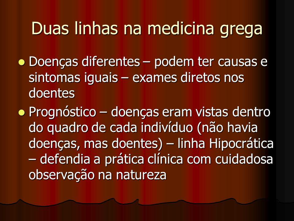 Duas linhas na medicina grega Doenças diferentes – podem ter causas e sintomas iguais – exames diretos nos doentes Doenças diferentes – podem ter caus