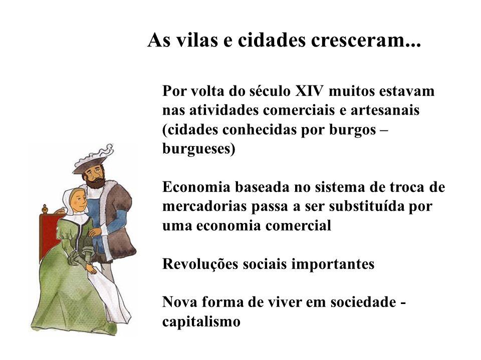 Por volta do século XIV muitos estavam nas atividades comerciais e artesanais (cidades conhecidas por burgos – burgueses) Economia baseada no sistema
