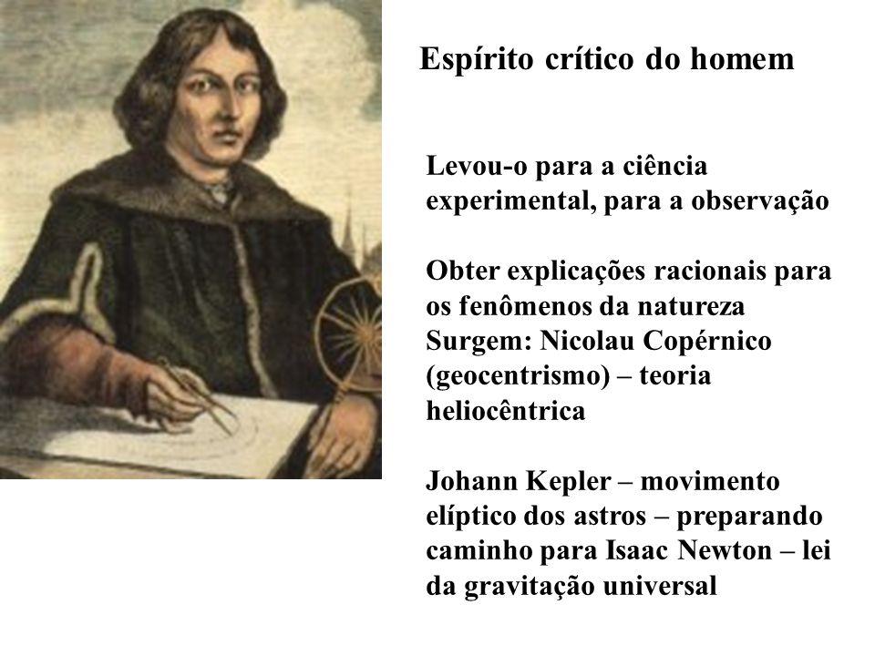 Espírito crítico do homem Levou-o para a ciência experimental, para a observação Obter explicações racionais para os fenômenos da natureza Surgem: Nic