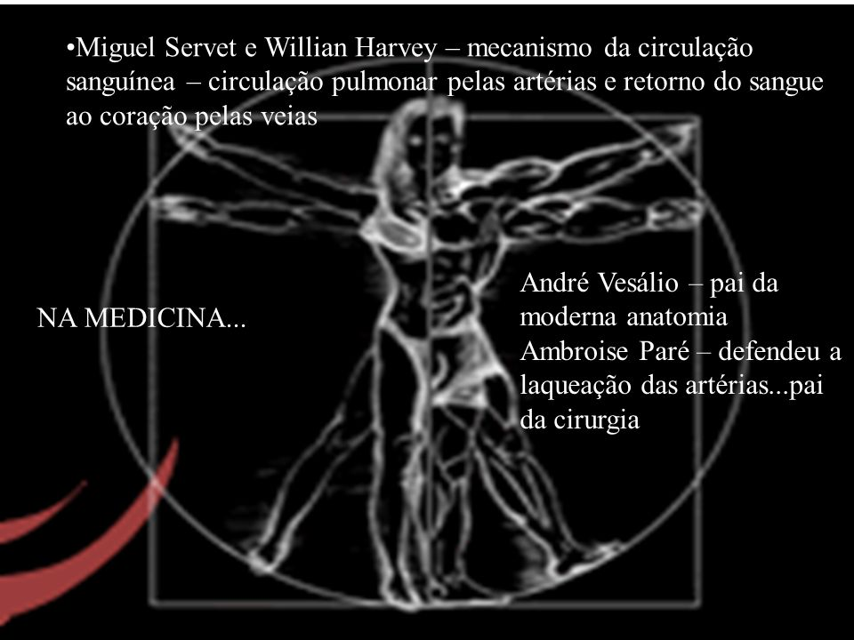 Miguel Servet e Willian Harvey – mecanismo da circulação sanguínea – circulação pulmonar pelas artérias e retorno do sangue ao coração pelas veias And
