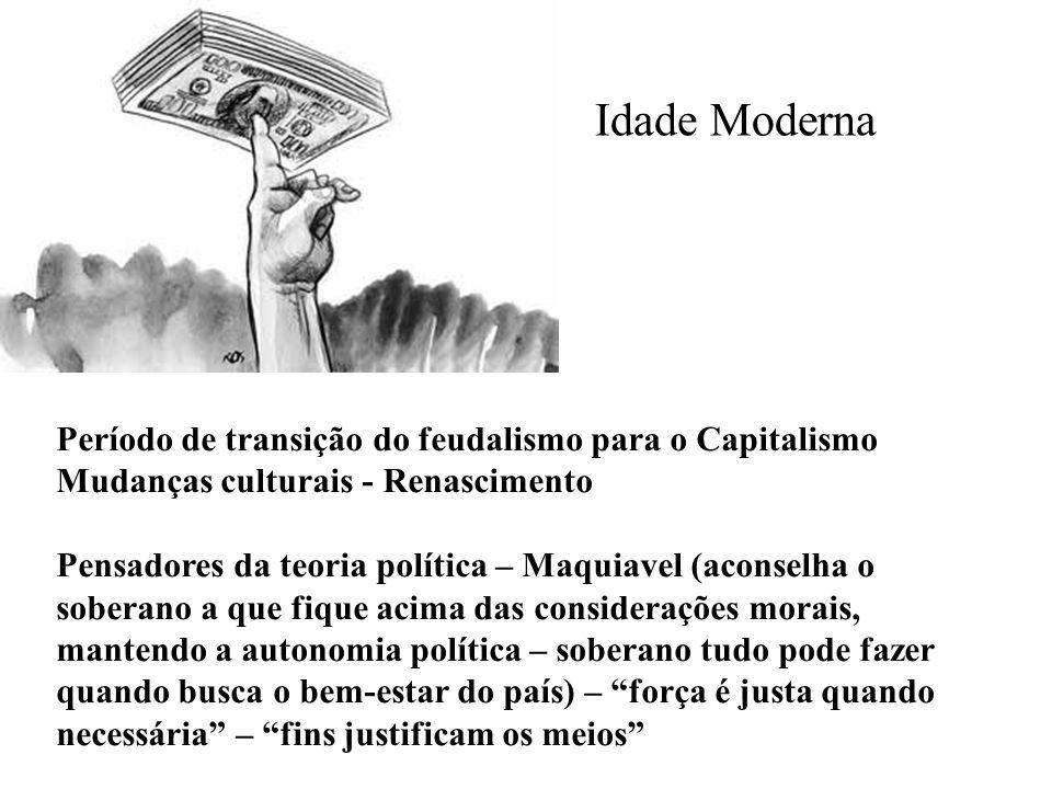 Idade Moderna Período de transição do feudalismo para o Capitalismo Mudanças culturais - Renascimento Pensadores da teoria política – Maquiavel (acons