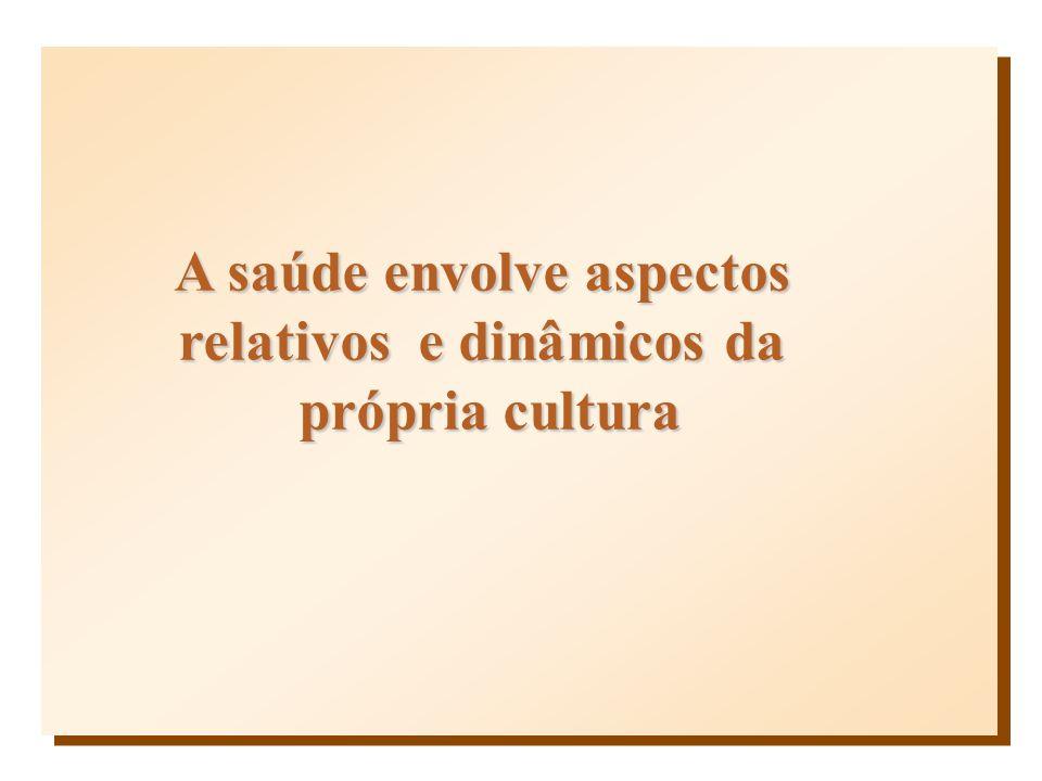 A saúde envolve aspectos relativos e dinâmicos da própria cultura