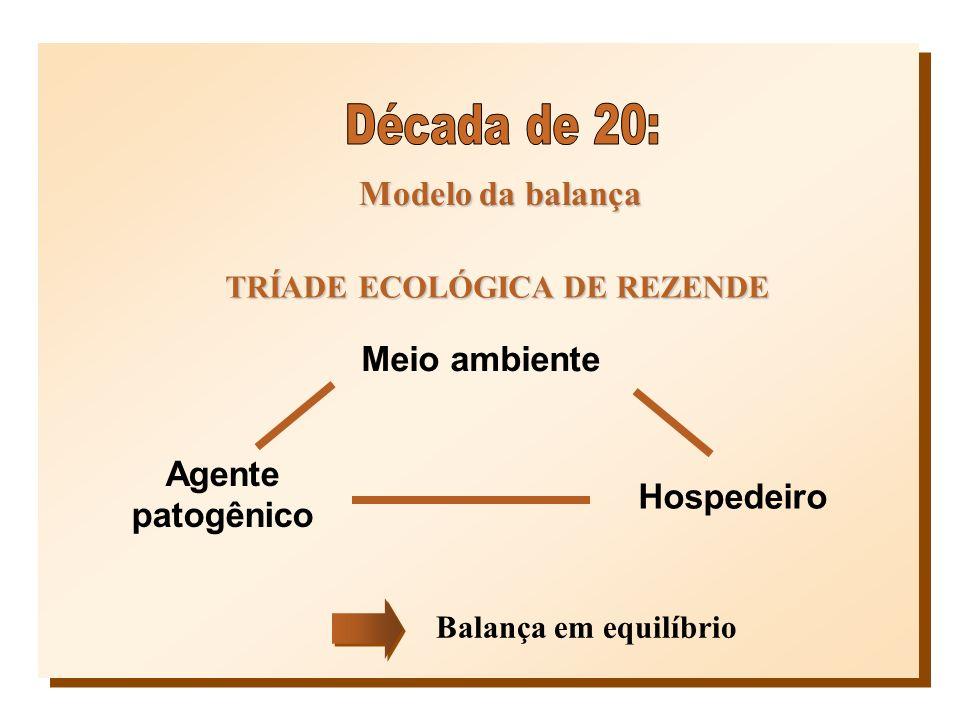 Modelo da balança TRÍADE ECOLÓGICA DE REZENDE Meio ambiente Agente patogênico Hospedeiro Balança em equilíbrio