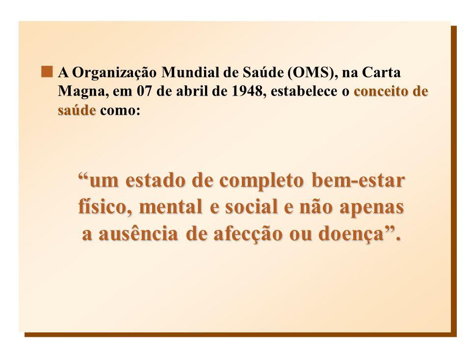 conceito de saúde A Organização Mundial de Saúde (OMS), na Carta Magna, em 07 de abril de 1948, estabelece o conceito de saúde como: um estado de comp
