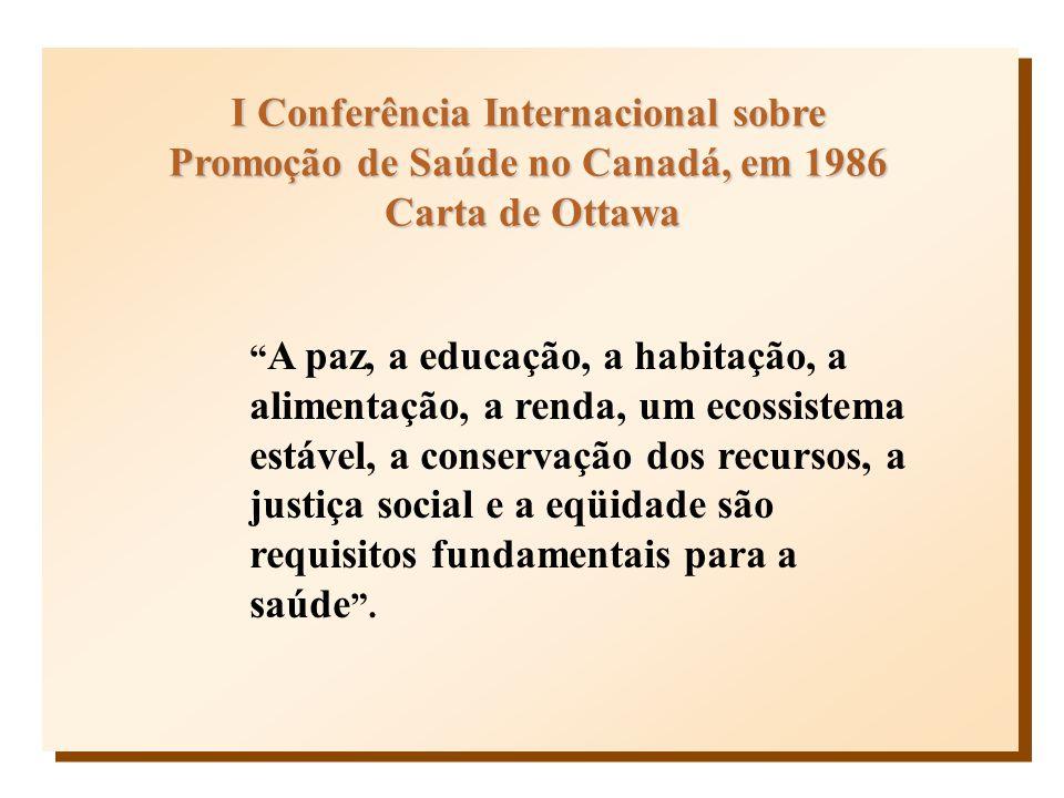 I Conferência Internacional sobre Promoção de Saúde no Canadá, em 1986 Carta de Ottawa Carta de Ottawa A paz, a educação, a habitação, a alimentação,