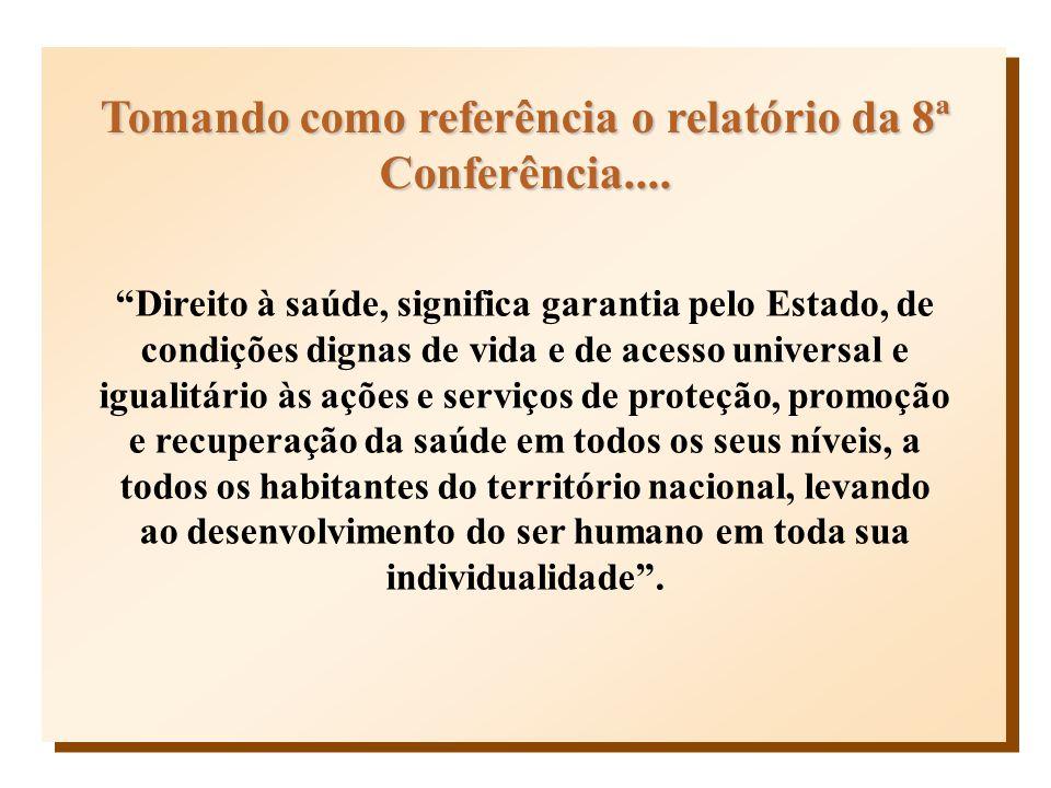 Tomando como referência o relatório da 8ª Conferência.... Direito à saúde, significa garantia pelo Estado, de condições dignas de vida e de acesso uni