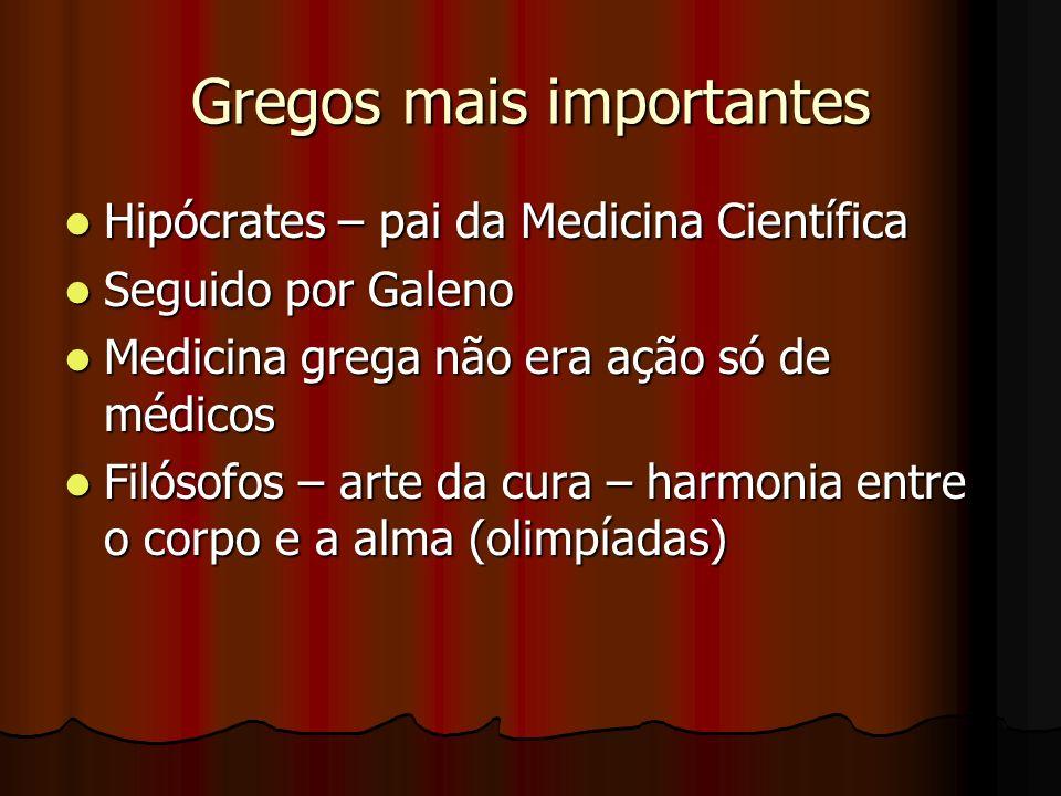 Gregos mais importantes Hipócrates – pai da Medicina Científica Hipócrates – pai da Medicina Científica Seguido por Galeno Seguido por Galeno Medicina