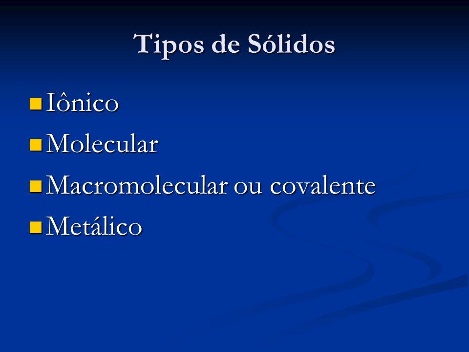 Tipos de Sólidos Iônico Iônico Molecular Molecular Macromolecular ou covalente Macromolecular ou covalente Metálico Metálico
