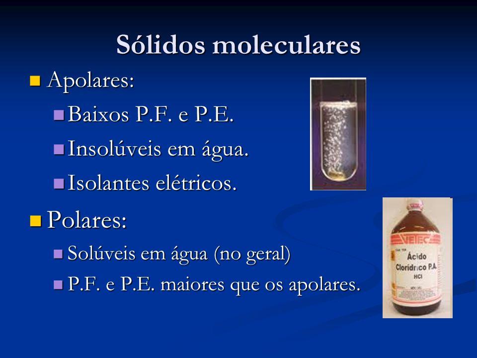 Sólidos moleculares Apolares: Apolares: Baixos P.F. e P.E. Baixos P.F. e P.E. Insolúveis em água. Insolúveis em água. Isolantes elétricos. Isolantes e
