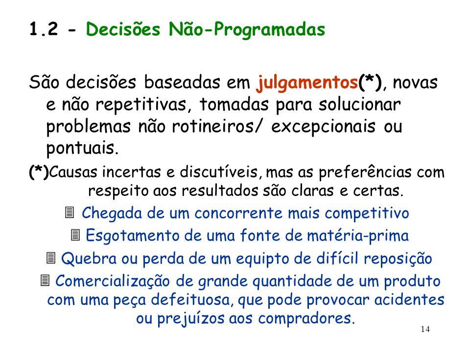 14 1.2 - Decisões Não-Programadas São decisões baseadas em julgamentos(*), novas e não repetitivas, tomadas para solucionar problemas não rotineiros/