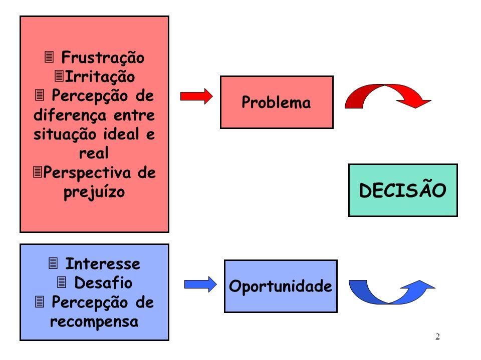 2 Frustração Irritação Percepção de diferença entre situação ideal e real Perspectiva de prejuízo Interesse Desafio Percepção de recompensa DECISÃO Pr