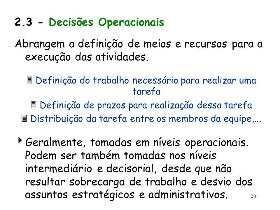 20 2.3 - Decisões Operacionais Abrangem a definição de meios e recursos para a execução das atividades. Definição do trabalho necessário para realizar