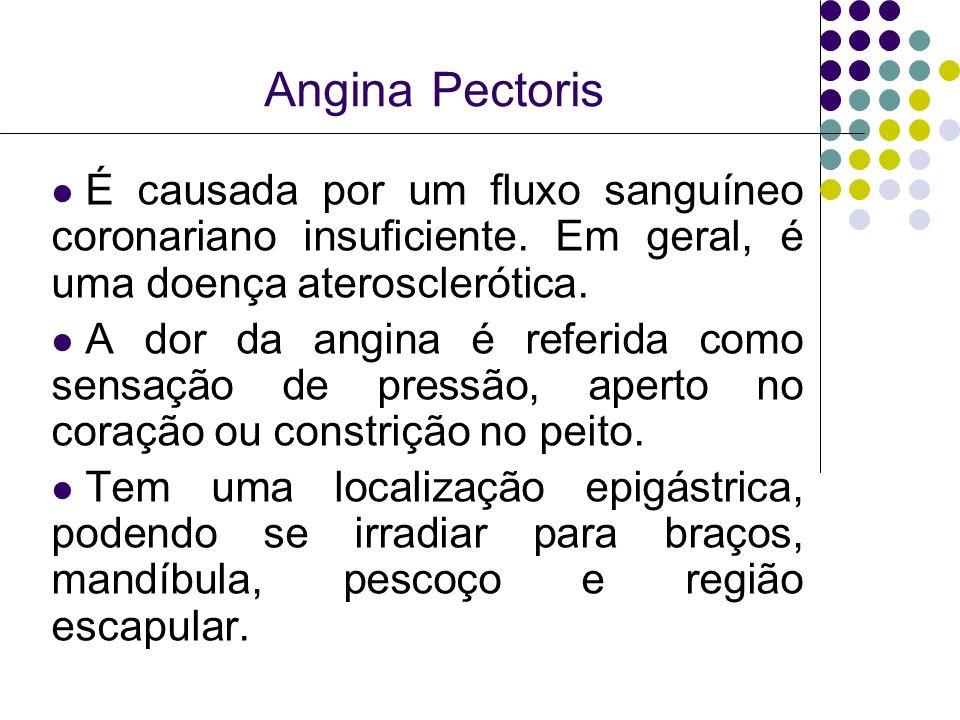 Angina Pectoris É causada por um fluxo sanguíneo coronariano insuficiente. Em geral, é uma doença aterosclerótica. A dor da angina é referida como sen