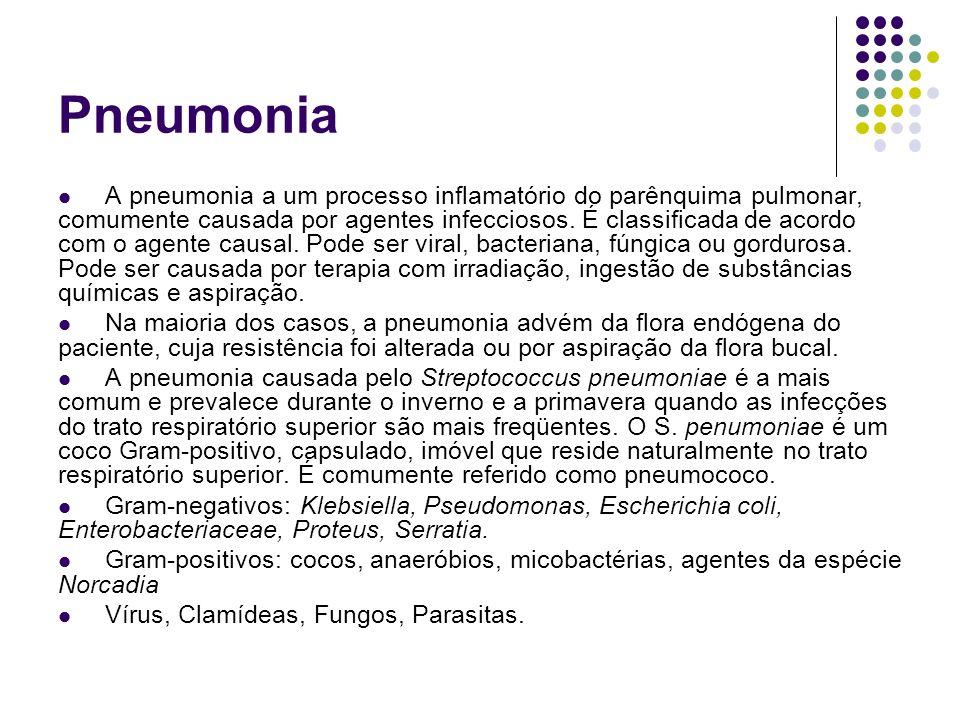 Pneumonia A pneumonia a um processo inflamatório do parênquima pulmonar, comumente causada por agentes infecciosos. É classificada de acordo com o age
