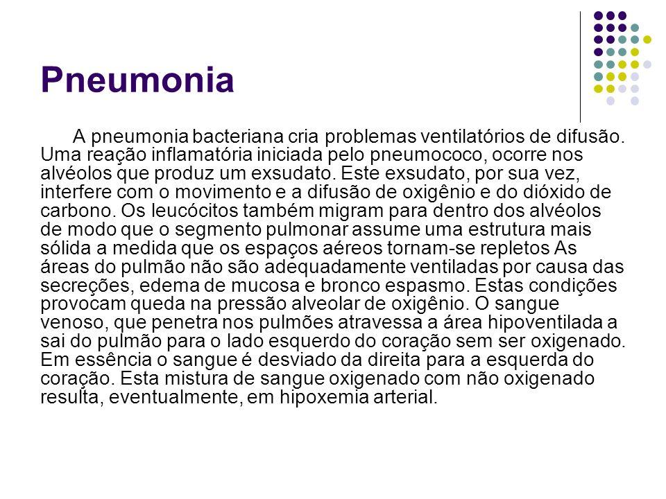 Pneumonia A pneumonia bacteriana cria problemas ventilatórios de difusão. Uma reação inflamatória iniciada pelo pneumococo, ocorre nos alvéolos que pr