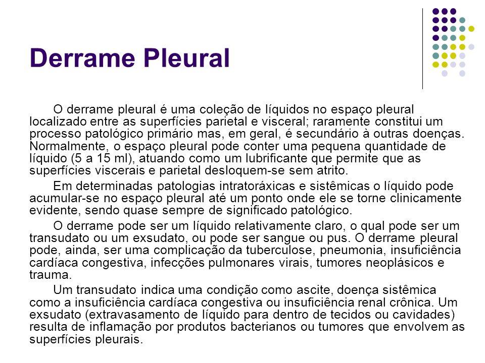 Derrame Pleural O derrame pleural é uma coleção de líquidos no espaço pleural localizado entre as superfícies parietal e visceral; raramente constitui um processo patológico primário mas, em geral, é secundário à outras doenças.
